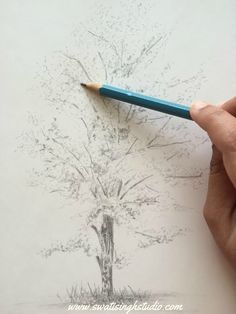 Trees Drawing Tutorial, Pencil Drawing Tutorials, Watercolour Tutorials, Leaf Drawing, Floral Drawing, Plant Drawing, Cool Drawings, Pencil Drawings, Tree Painting Easy