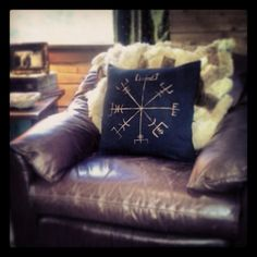 Vegviser Viking Compass Printed Decorative Pillow by HalloftheHart, $35.00