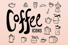 Doodled Coffee Icons by Hello Brio Studio on Creative Market