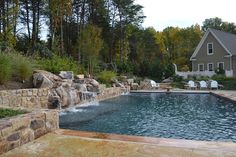 Pebble Sheen, Great Falls, Virginia, Pool House, Water Feature, Water Falls, Water Falls with Rocks, Diving Board