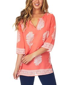 Take a look at the Pinkblush Orange & White Paisley Notch Neck Tunic on #zulily today!