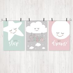**3er-Set mit Name – Stern, Wolke & Mond aus der Reihe SONNE, MOND & STERNE**  Ein wundervolles Bilder-Set mit dem Namen des Kindes zur Gestaltung des Kinder- oder Babyzimmers. Kommt auch als...