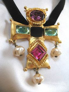Vintage Christian LACROIX Runway Necklace Cross Pendant with from nicole-la-bay on Ruby Lane