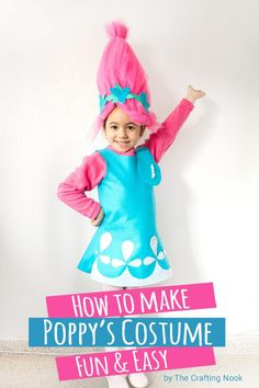 This Poppy Troll Costume Tutorialwill make your little troll the hit of the party. You can have this Poppy Troll costume done in about 2 to 3 hours and you don't need to be a pro to make it. Also you don't need a pattern and will fit any size. Poppy Halloween Costume, Family Halloween Costumes, Halloween Diy, Halloween Decorations, Toddler Costumes, Diy Costumes, Costume Ideas, Cosplay Costumes, Princess Poppy Costume Diy