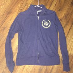 blue and yellow PINK full zip good condition! full zip and has no stains or anything. yellow and navy blue jacket PINK Victoria's Secret Tops Sweatshirts & Hoodies
