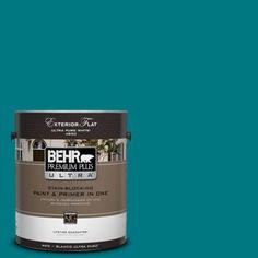 BEHR Premium Plus Ultra 1-gal. #P470-7 The Real Teal Flat Exterior Paint-485301 - The Home Depot