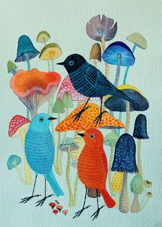Mushrooms by Geninne on Etsy, $30.00