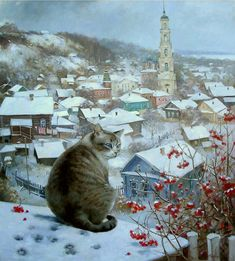 Ꮳαɬ αʀɬ (Winter cat painting by Ekaterina Shtuts) Cat Drawing, Painting & Drawing, Winter Cat, Photo Chat, Art Et Illustration, Russian Art, Animal Paintings, Beautiful Cats, Crazy Cats