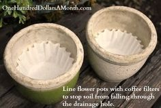 Line flower pots with coffee filters to keep the soil from falling through the drainage hole. That's brilliant! Organic Gardening, Gardening Tips, Balcony Gardening, Indoor Gardening, Garden Planters, Pill Bug, Old Farmers Almanac, Dawn Dish Soap, Easy Garden