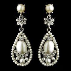 Antique Silver Clear Rhinestone & Diamond White Pearl Bridal Earrings