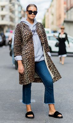 Leopard print jacket layered over a hoodie.