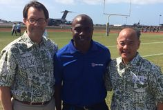 NFL Network analysts and sideline reporter Marshall Faulk after interviewing USAA execs