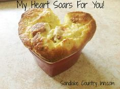 This is our Herb souffle, served in a heart shape. Heart Shapes, Pineapple, Muffin, Herbs, Fruit, Country, Breakfast, Food, Morning Coffee