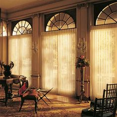 Privacy Sheers provide the widest range of light control possible, with a sheer face fabric to let light in and attached soft fabric vanes that rotate to keep light out.