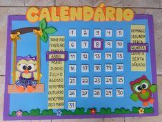 Calendário Escolar Corujinha em E.V.A