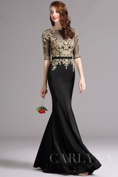 Carlyna Black Formal Gown with Illusion Sweetheart Neckline and Beaded Black Formal Gown with Illusion Sweetheart Neckline Dinner Gowns, Evening Dresses, Prom Dresses, Black Formal Gown, Formal Gowns, Black Prom, Elegant Outfit, Elegant Dresses, Beautiful Gowns
