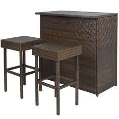 Wicker Bar Set Patio Outdoor Backyard Table & 2 Stools Rattan Garden Furniture  #BestChoiceProducts