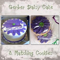"Purple Gerber Daisy Bridal Shower Cake and matching Cookies $125.00 (12"")"