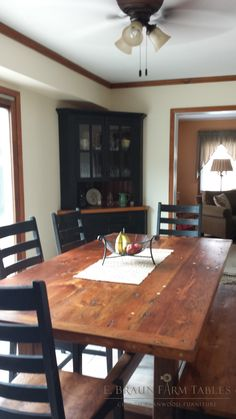 Sawbuck Trestle Table, Corner Cabinet, Bench, Chairs  E. Braun Farm Tables