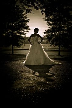bridal portrait sunset silhouette