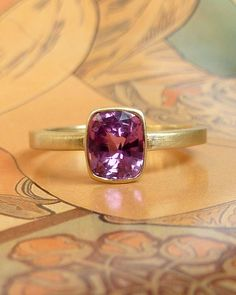 RedViolet Rose Cut Cushion Sapphire Ring by kateszabone on Etsy, $1195.00