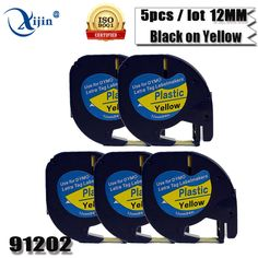 5 pcs Compatible Dymo Plastic LT Label Tape 91202 LetraTag Label Tape DYMO Label Printer 12mm*4m Black on Yellow