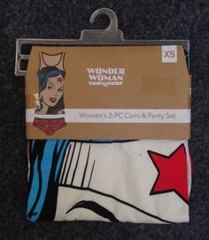 Wonder Woman PJ Set Women's 2-Piece Cami & Panty Set Size XS #BrieflyStated