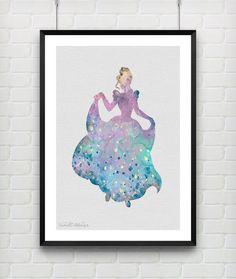 Cinderella Disney Watercolor Art Print Princess Room Wall Art by VIVIDEDITIONS
