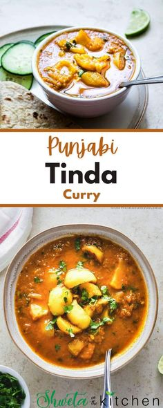 Punjabi Tinda Curry is a vegan north Indian style curry that can be made under 30 mins and pairs well with any Indian flatbread or rice. Vegan Indian Recipes, Vegan Dinner Recipes, Vegan Dinners, Asian Recipes, Healthy Recipes, Ethnic Recipes, Vegetarian Pasta Dishes, Veggie Sushi, Teriyaki Tofu