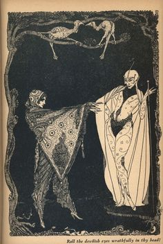 A 1960 edition of Goethe's Faust. Harry Clarke was an Irish artist (1889-1931) who was known for his book illustrations and stained glass creations. Important figure in the Arts and Crafts movement and was heavily influenced by Art Nouveau and Art Deco