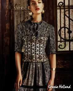 Glamorous and mysterious, the Fay total look as seen in Grazia.