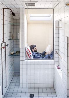 Bedroom nook looks directly into shower - BC-OA