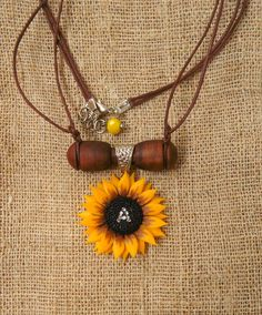 Personalized Sunflower necklace initial necklace personalized wood polymer clay jewelry gift for her wedding jewelry bridesmaid jewelry by SelenaJewelryBijou on Etsy