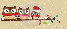 Owl Family On The Branch Christmas Banner - Download From Over 28 Million High Quality Stock Photos, Images, Vectors. Sign up for FREE today. Image: 33251963