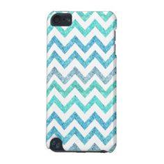 Girly Summer Sea Teal Turquoise Glitter Chevron iPod Touch 5G Cover