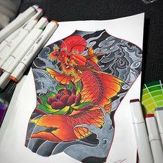 #titattoo #tiinker #japaneseart #japanesetattooart #japanesetraditional #irezumi #irezumicollective #irezumitattoo #japanesetattoo #japanesetattoos #fishsketch Koi Dragon Tattoo, Carp Tattoo, Koi Fish Tattoo, Dragon Art, Japanese Tattoo Art, Japanese Art, Sailor Jerry Tattoo Flash, Fish Sketch, Body Painting