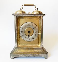 RARE Antique 19th century German Junghans two bell Carriage Alarm clock.  Made in Germany.