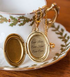 Romantic Quote locket: Ever Thine, Ever Mine, Ever Ours. £10.50, via Etsy.
