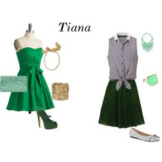 a dressy and casual look based on the disney princess, tiana.