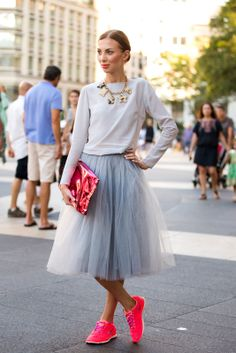 """I want that skirt. Idk about those shoes though...  How Real Women Wear """"Fashion"""" Sneakers #refinery29"""