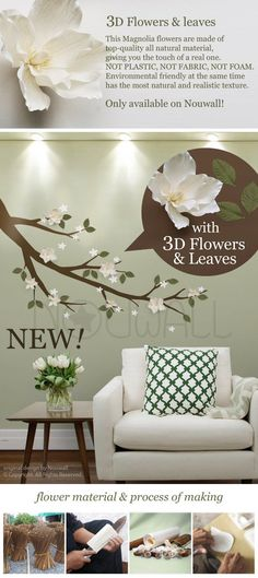 Magnolia Branch With White 3D Flowers And Sage Green Leaves Tree Wall