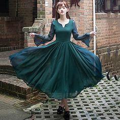 Incern®Women's Silk Vintage Slim Long Swing Dress – SEK Kr. 364
