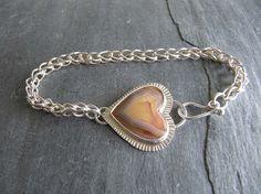 Bracelet with Laguna Agate Heart and Handmade Silver Chain