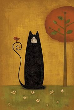 Black cat with bird illustration Image Chat, Art And Illustration, Illustrations, Gatos Cats, Photo Chat, Primitive Folk Art, Primitive Painting, Cat Drawing, Whimsical Art