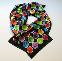 Black Petri Dishes Silk Charmeuse Scarf by artologica on Etsy Chiffon Scarf, Silk Chiffon, Petri Dish, Silk Charmeuse, Science Art, Silk Scarves, Rainbow Colors, Black Backgrounds, Geek Stuff