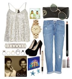 """""""Day with the rizzles"""" by jesscrozier24 ❤ liked on Polyvore featuring Paige Denim, River Island, Ray-Ban, Marc by Marc Jacobs, Ann Taylor, Parker, Disney, Iosselliani, Bridge Jewelry and NARS Cosmetics"""
