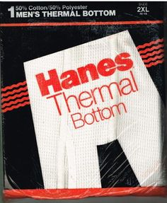 Hanes Thermal Underwear Long Johns Bottoms Big Mens 2 XL 46-48 Original Package…