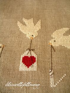 Birds and heart cross stitch