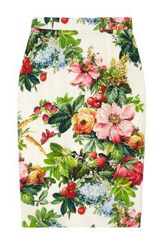 Dolce & Gabbana|Printed stretch-silk pencil skirt|NET-A-PORTER.COM