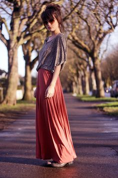 Maxi skirt with boots = heaven #coral_red #shades